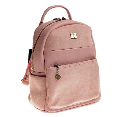 House of Tweed Small Rucksack Handbag in Pink Suede